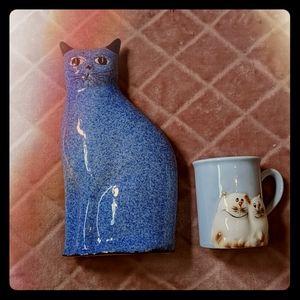 Vintage Cat Lovers Blue Cat and Mug Lot